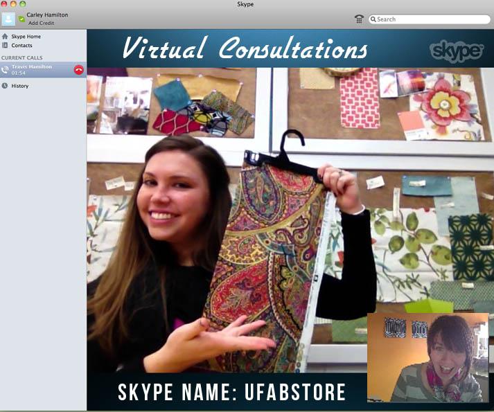 U-Fab now offers fabric virtual consultations.