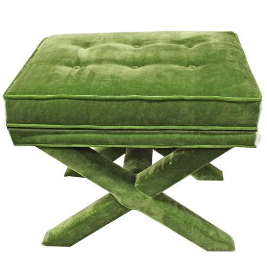 Kelly Green Upholstered Stool