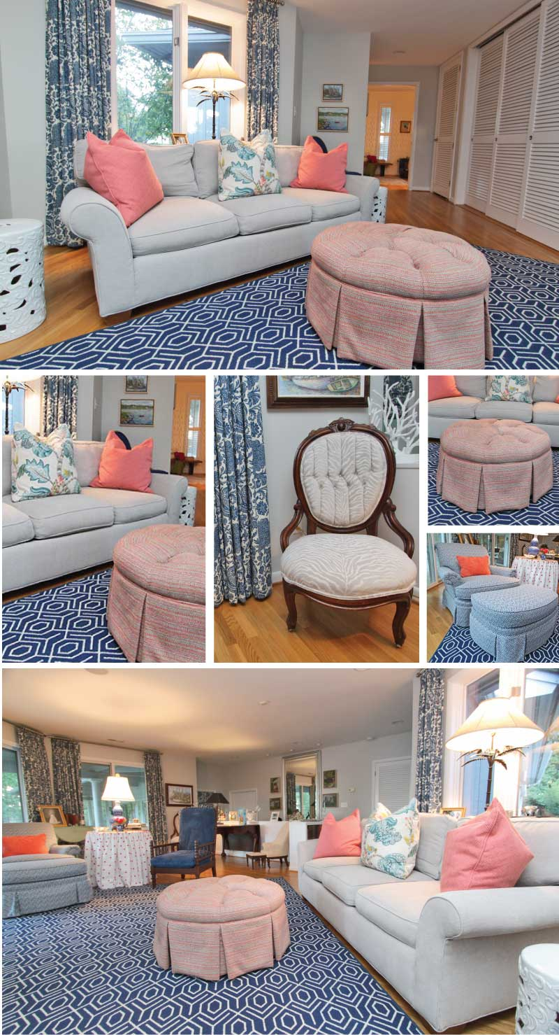 A navy and coral formal living room with skirted ottomans and textured pattern play.