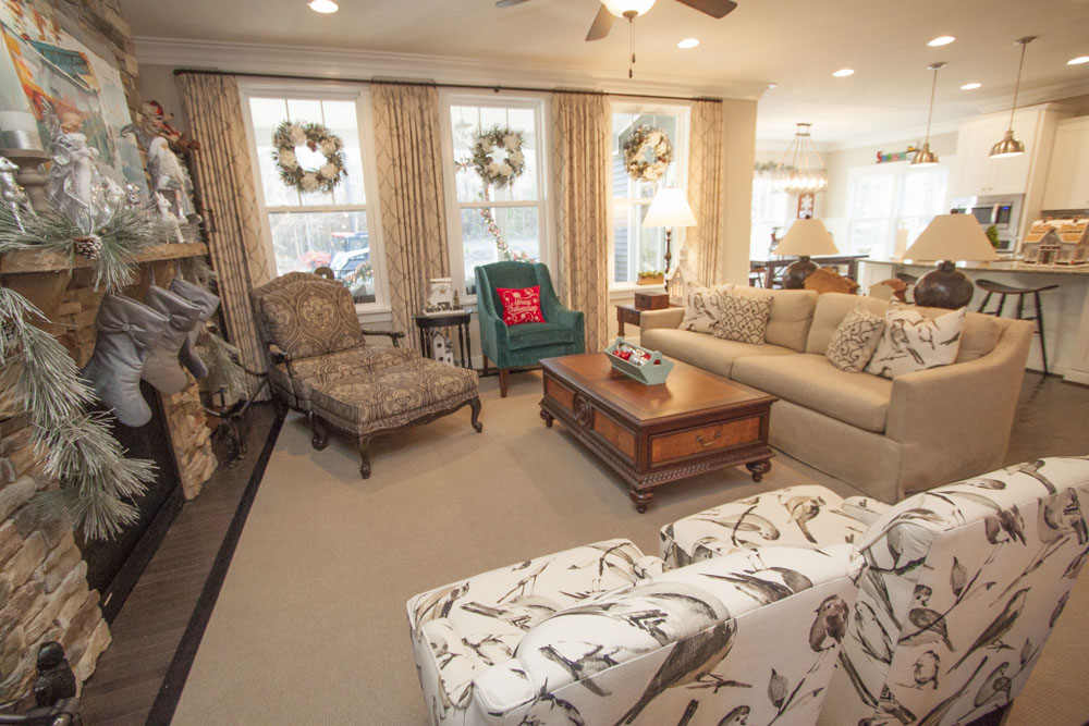 The open concept family room is an equal balance of color and texture.
