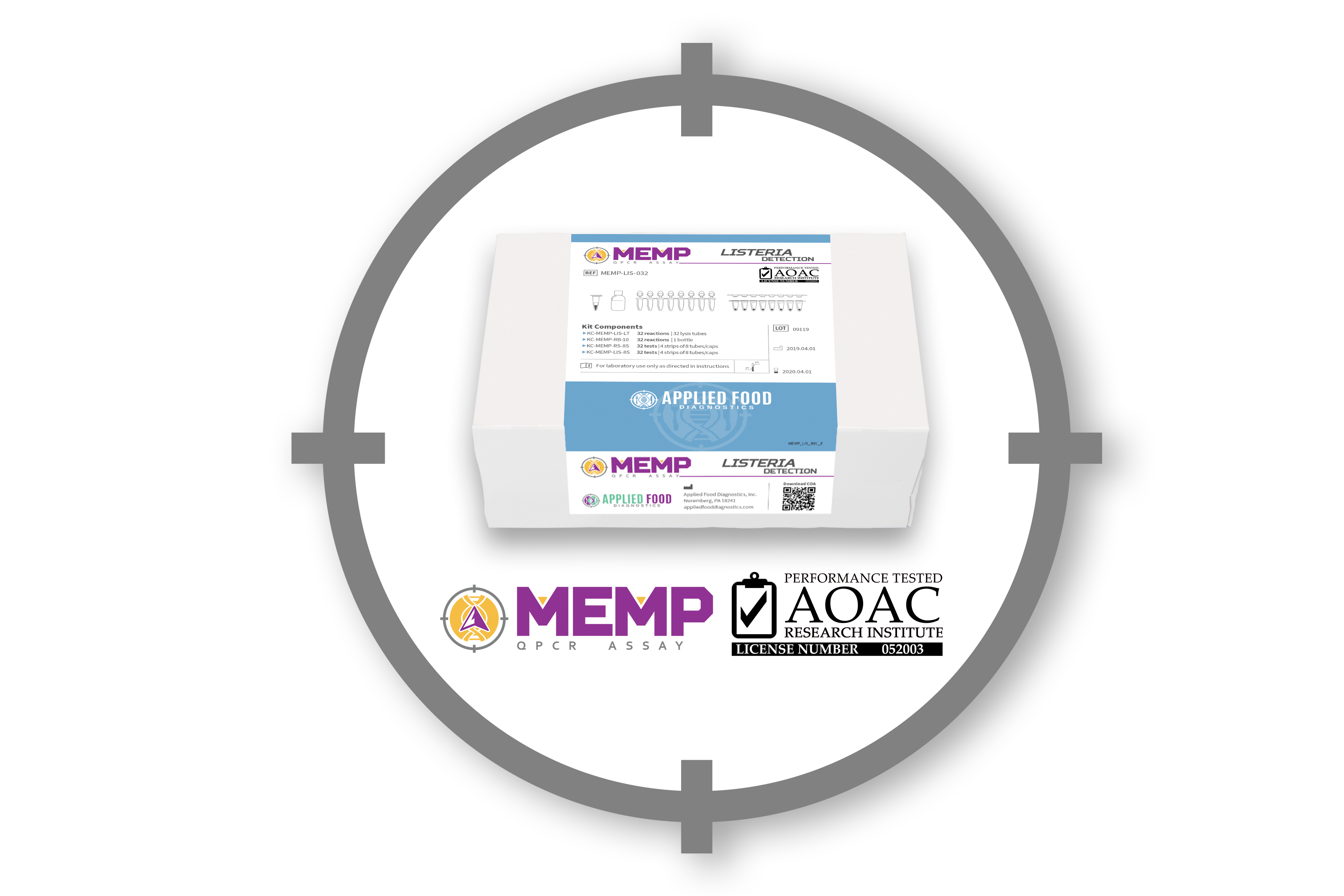 MEMP Kit on display with AOAC PTM and MEMP logo
