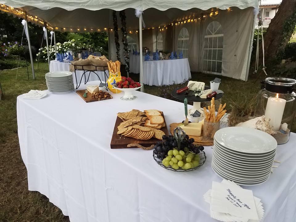 island girl catering wedding garden local cheeses platter