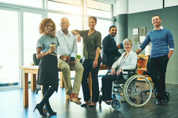 grupo de pessoas formada por mulheres e homens brancos, negros e cadeirante