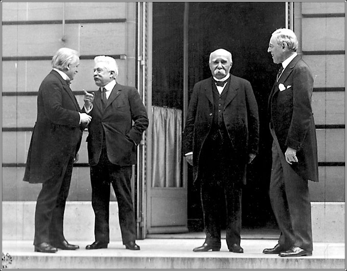 The Big Four at Versailles: David Lloyd George, Vittorio Orlando, Georges Clemenceau and Woodrow Wilson
