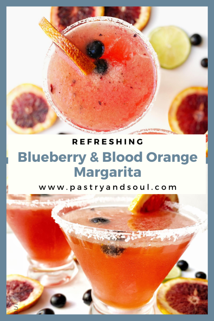 margarita with blood oranges and blueberries in a glass