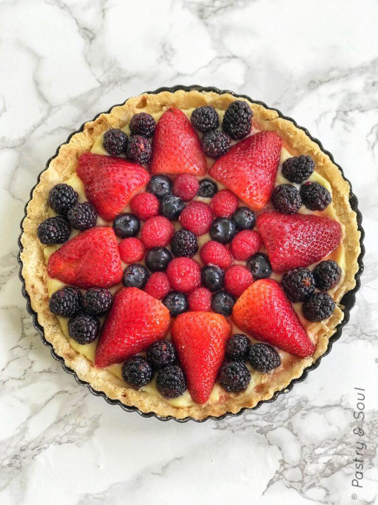fruit tart with blackberries, strawberries, blueberries and raspberries