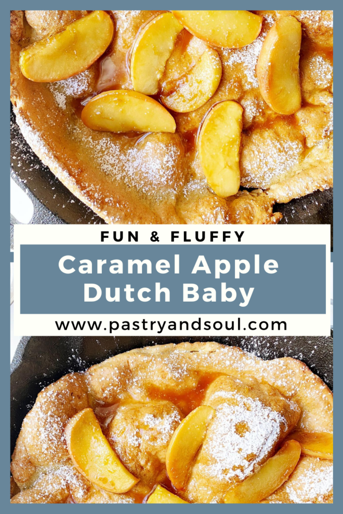 Caramel Apple Dutch Baby in a cast iron pan