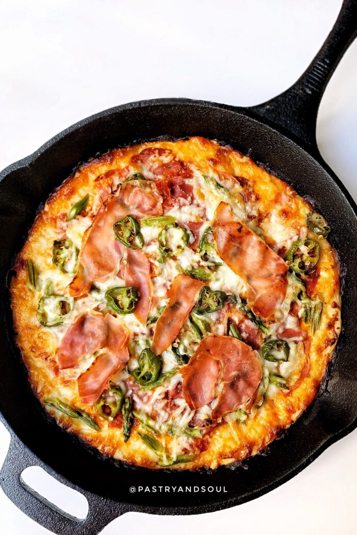 Asparagus, Jalapeño, and Prosciutto Cast Iron Skillet Pizza