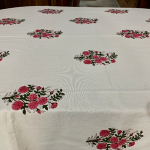 Red Block Print Table Cloth