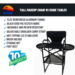 #65TTR Tall Makeup Chair W/2Side Tables