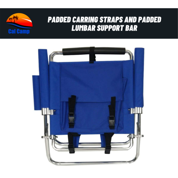 Backpack Fishing Chair - Portable Folding Ultra Light Chair with Padded Carrying Straps & Padded Lumbar Support Bar - All Aluminum Fishing Chair with Cup & Fishing Rod Holder (6)