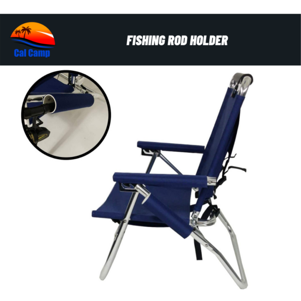 Backpack Fishing Chair Royal Blue- Portable Folding Ultra Light Chair with Padded Carrying Straps & Padded Lumbar Support Bar (3)