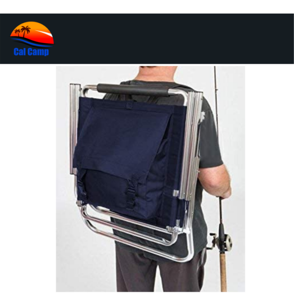 Backpack Fishing Chair Royal Blue- Portable Folding Ultra Light Chair with Padded Carrying Straps & Padded Lumbar Support Bar (5)