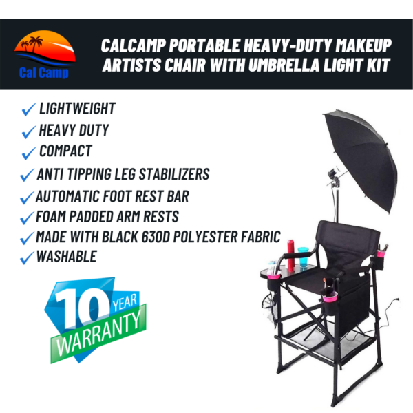 Cal Camp Portable Heavy-Duty Makeup Artists Chair with Umbrella Light Kit