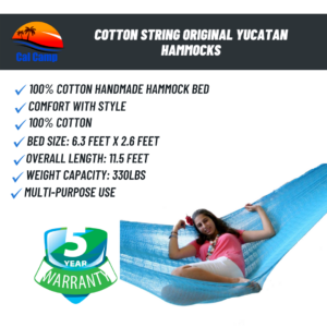 Cotton String Original Yucatan Hammocks – Individual Type Hammock – Sky Blue