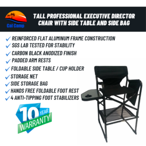 Model #65TTPRO – Tall Professional Executive Director Chair With Side Table And Side Bag
