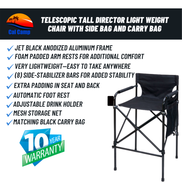 Model #63T – Telescopic Tall Director Light Weight Chair With Side Bag and Carry Bag