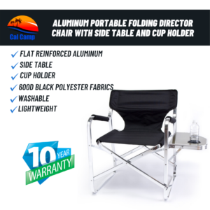 Model # 65T – Aluminum Portable Folding Director Chair with Side Table and Cup Holder