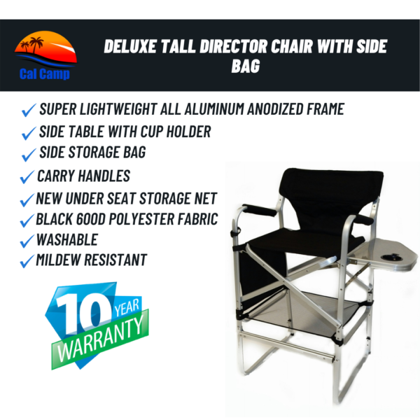 Model # 65TT Deluxe Tall Director Chair With Side Bag