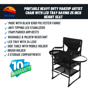 Portable Heavy Duty Makeup Artist Chair with LED tray with 25 inch Height Seat