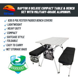 Raptor II Deluxe Compact Table & Bench Set With Military-Grade Aluminum.