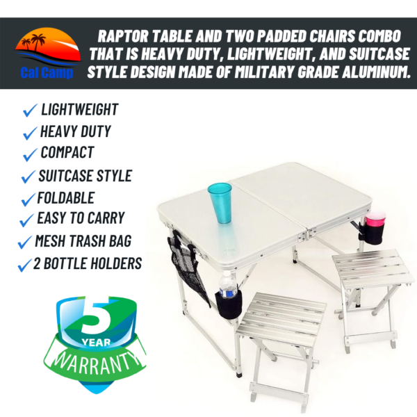 Raptor Table and Two Padded Chairs Combo That is Heavy Duty, Lightweight, and Suitcase Style Design Made of Military Grade Aluminum