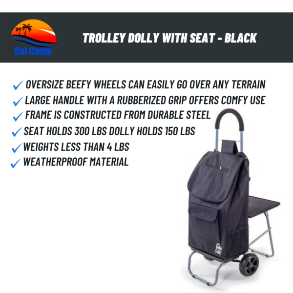 TROLLEY DOLLY WITH SEAT - BLACK