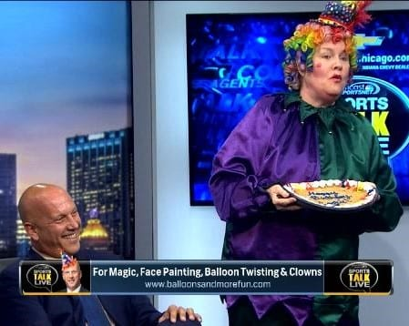 Rainbow The Magical Clown with David Kaplan on Sport's Talk Live. Hire a Carnival Clown Chicago singing classic Birthday Songs - $125. Add a birthday cake- $45. Chicago Singing Telegram. We excel at all types of Clowns, Chickens & Pink Gorillas. Same Day Service is always available. Illinois' best Telegram Service. Exciting Performances by fine voices and expert Guitar Players. Best Birthday / Easter or Passover Gift Ever!