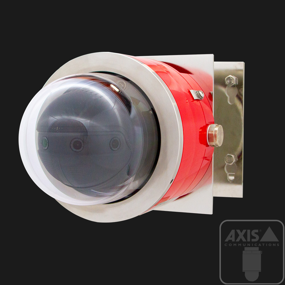 red explosion-protected panoramic camera with axis communications multi-sensor inside