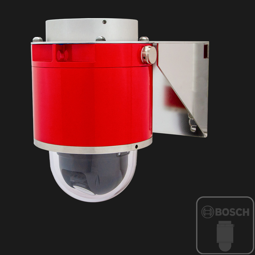 red explosion-protected ptz camera with Bosch sensor inside
