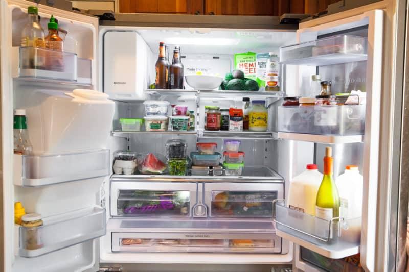 inside a full refrigerator