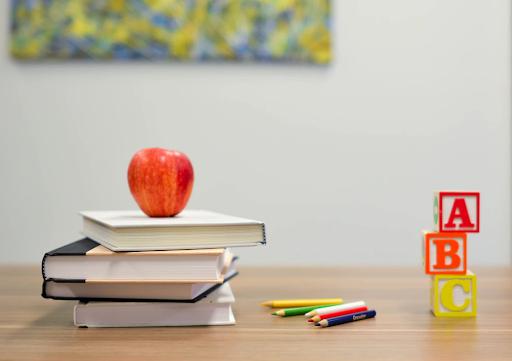 school books, apple, blocks