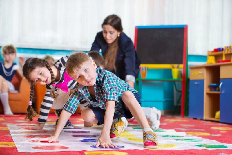 Children playing twister