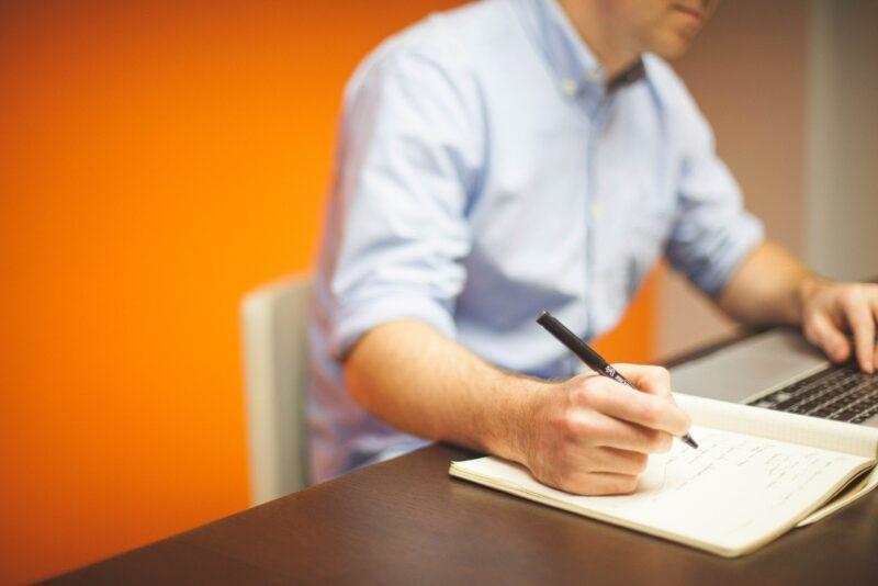 Business man paper pen