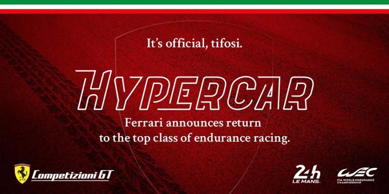 Ferrari Announces Return To The Top Class Of Endurance Rancing WEC