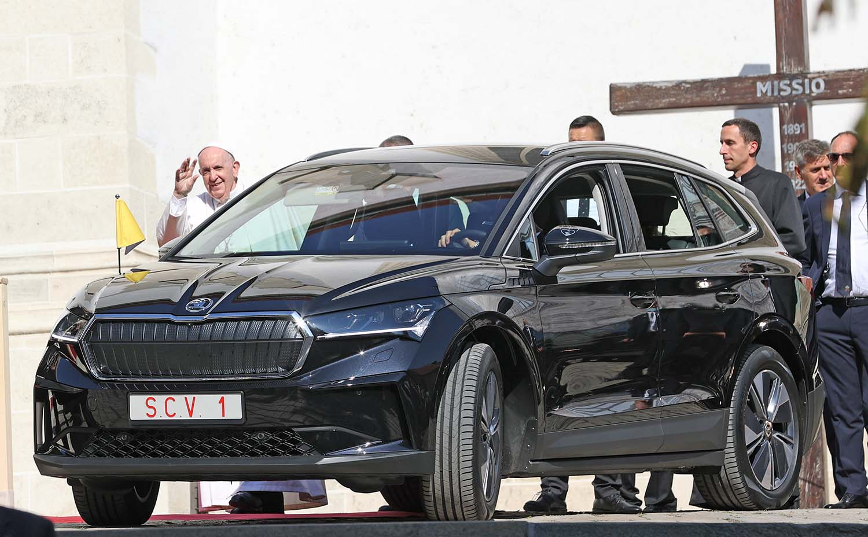 Pope Francis Travels In Škoda Enyaq Iv During His Visit To Slovakia