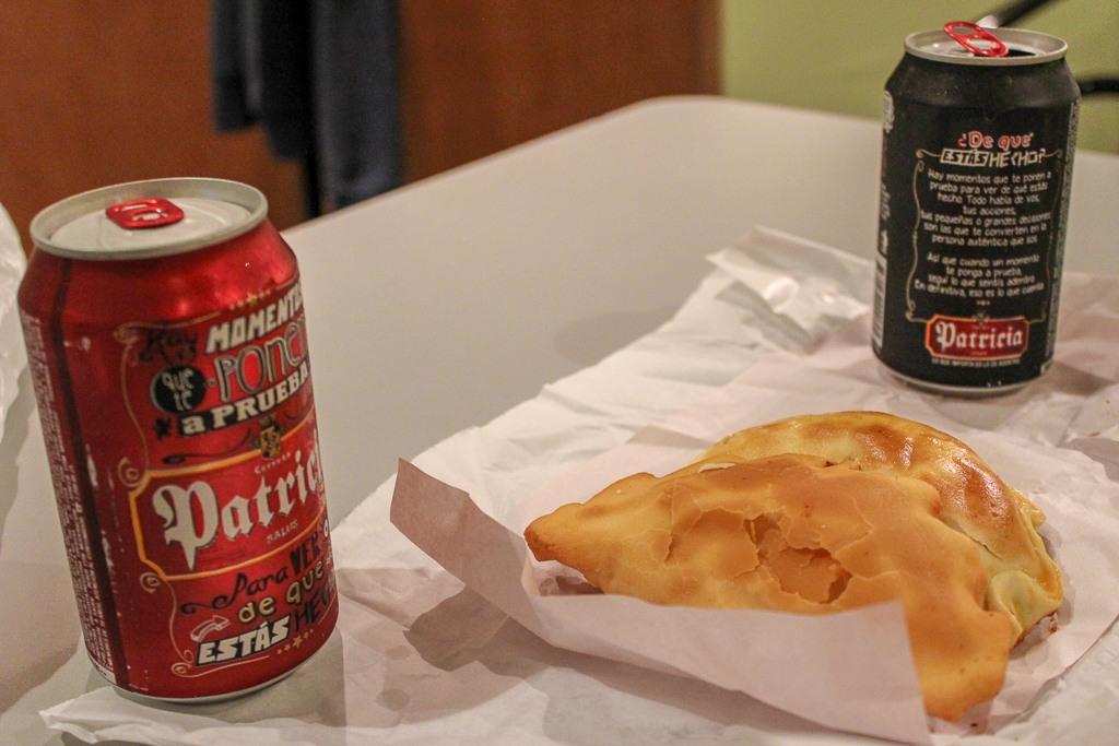 Empanadas and beer in Montevideo, Uruguay