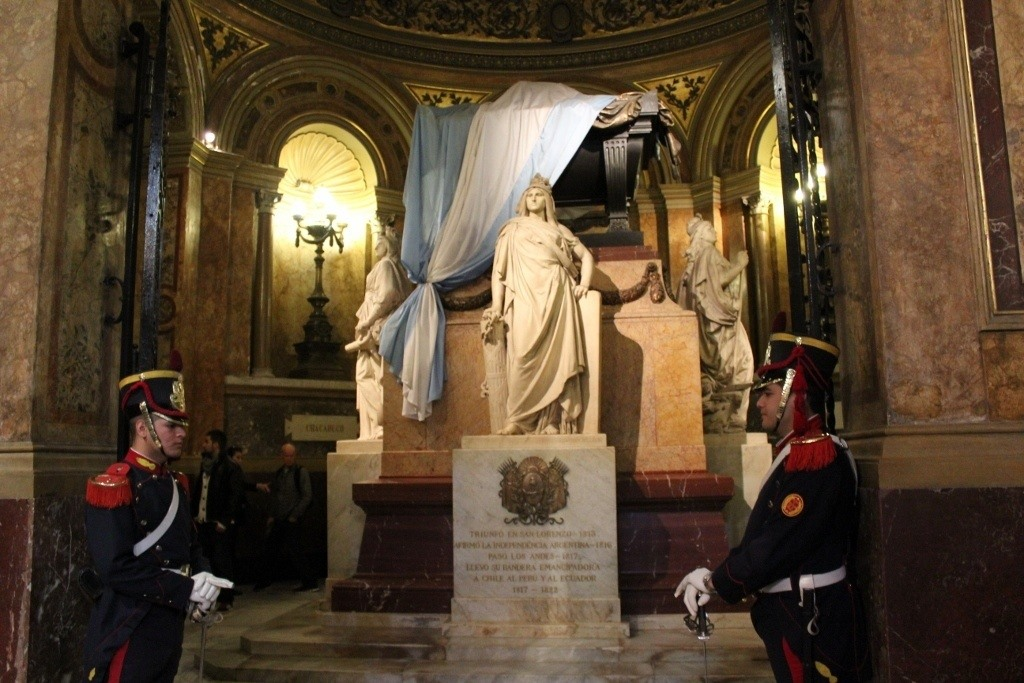 The Tomb of Jose de San Marin, Argentina's Liberator, is guarded by Soldiers of the Grenadier Regiment