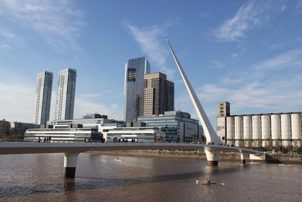 Famous Puente de la Mujer pedestrian bridge in Buenos Aires, Argentina