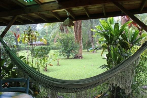 Hammock on porch at Mark's Place, Moorea, French Polynesia