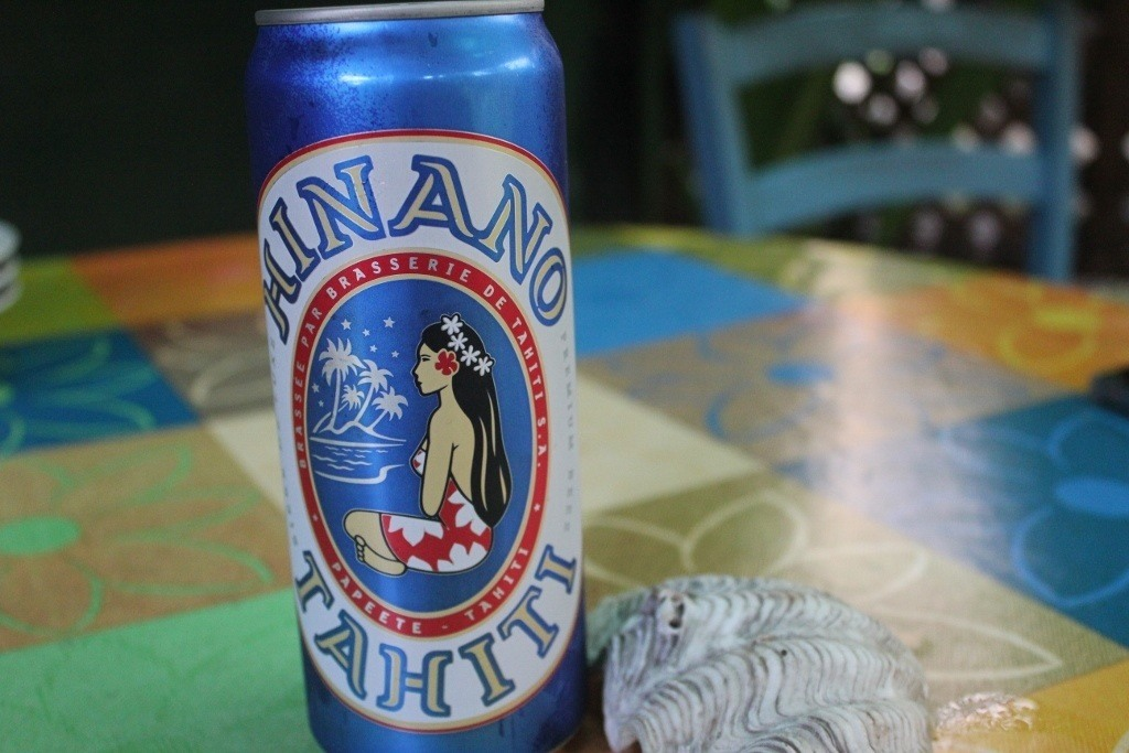 Can of Hinano Tahiti Beer on Moorea, French Polynesia