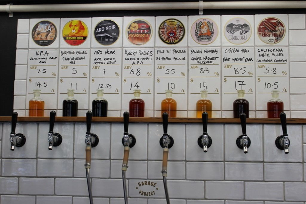 Taps at Garage Project in Wellington, New Zealand