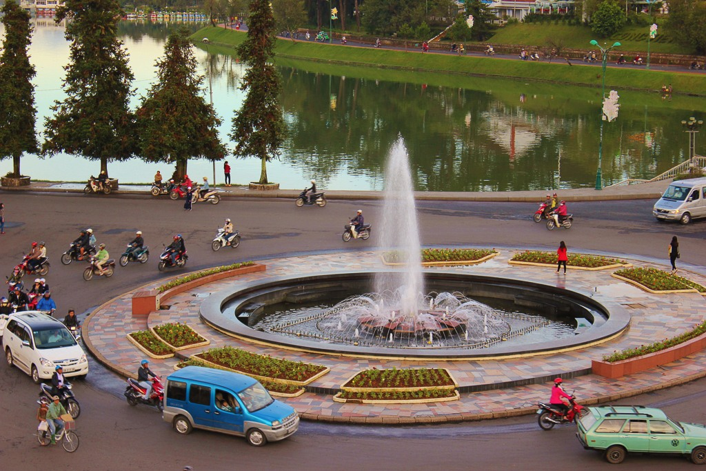 Roundabout Fountain in center of Dalat, Vietnam