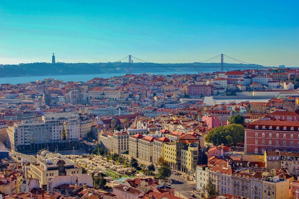 City views from Miradouro da Nossa Senhora do Monte, Lisbon Portugal
