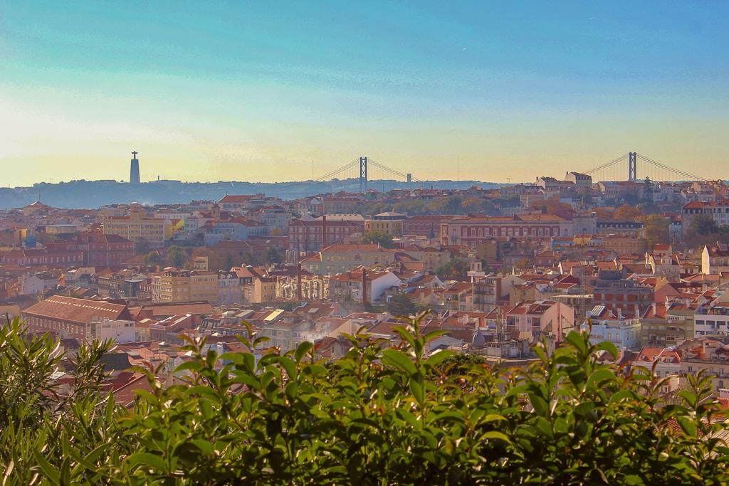 Super view from Miradouro do Monte Agudo, Lisbon Portugal.