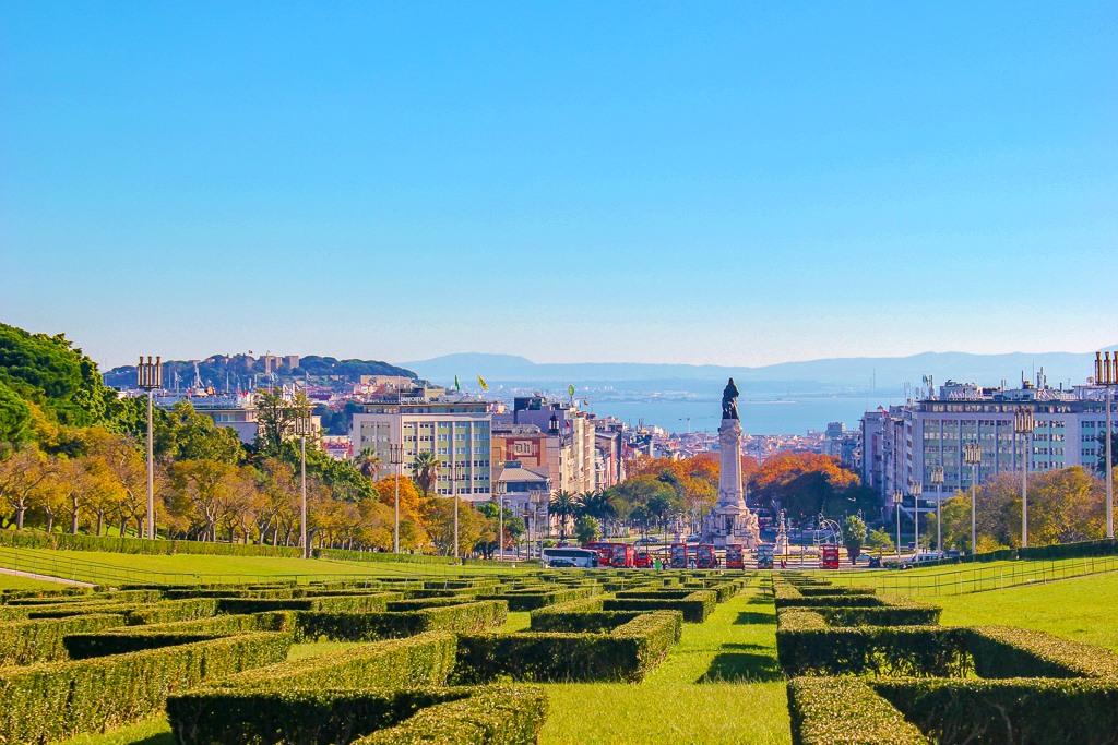 Wonderful views from Miradouro do Parque Eduardo VII, Lisbon Portugal