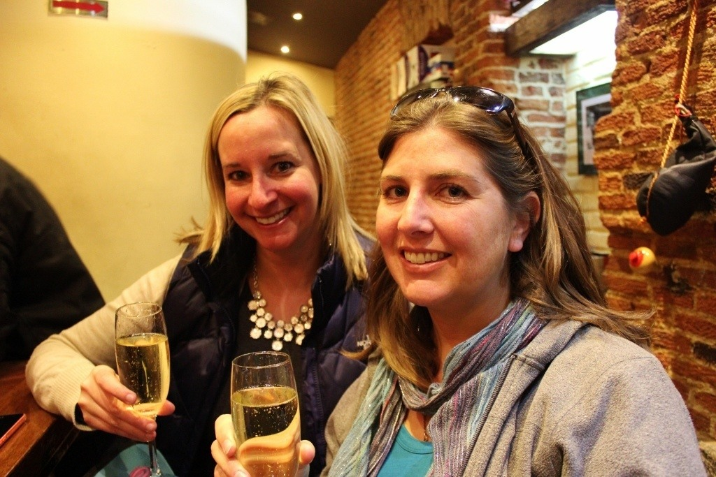 New Year's Eve in Madrid: Lowercase and Sarah celebrating with Cava wine ~ closest thing to Champagne this NYE!