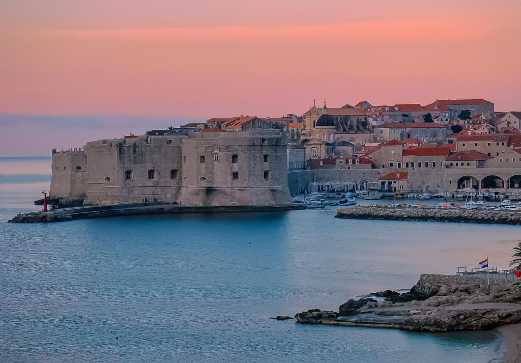 Sunrise over Banje Beach in Dubrovnik, Croatia