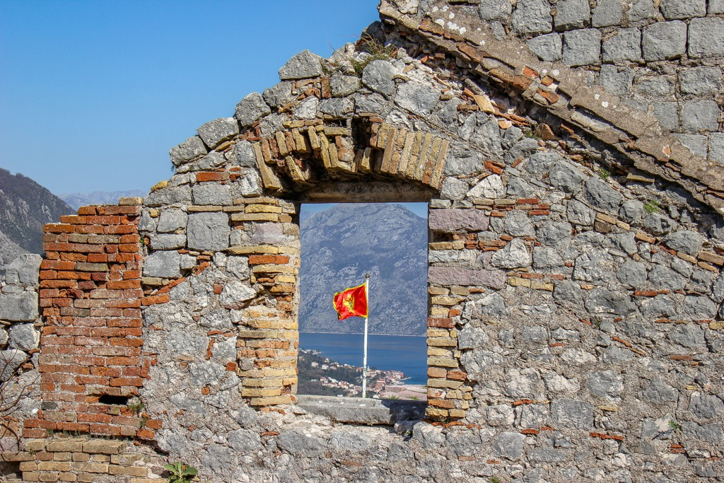 Flag at the top of Kotor, Fortress, Montenegro