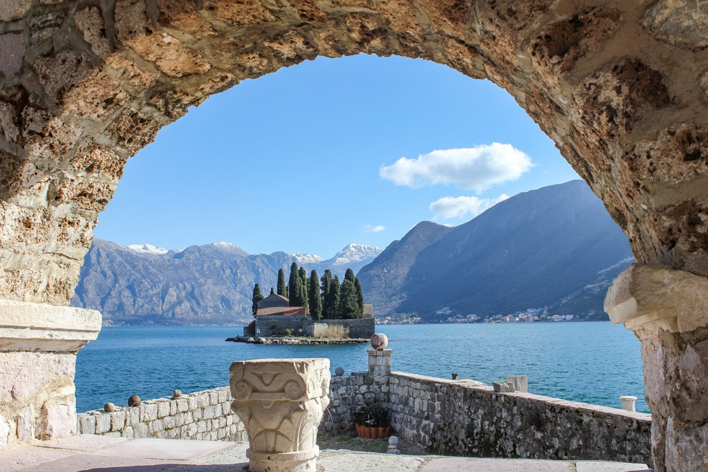 View across the Bay of Kotor from the islands off Perast, Montenegro
